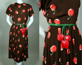 1749608b0d 40s Cherry Print Rayon Crepe Dress - Leather Cherry Belt - Colossal Cherry  Print - Red