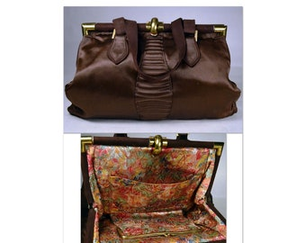 1930s Satin Handbag, LAME LINING_Espresso Brown_Suede Trim_Double Self Handle Strap_Brass Hardware_Bag_Purse_All Original, True 30's