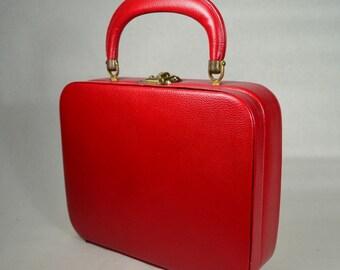 1950s Red Leather Vintage BOX Handbag_FINEST QUALITY_Purse_BAG_All Original, True 50s Vintage_Excellent Condition
