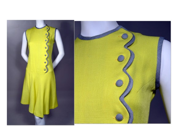 e346b3fed1 60s MOD BUTTONS and SCALLOP DRESS Chrome Yellow   Gray