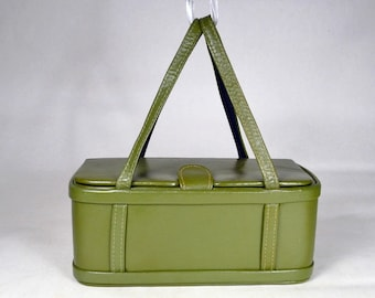 1950s Green Leather Box Handbag_Rectangle_Double Handle_All Original, True 50s Vintage_Purse_Bag_Mid Century