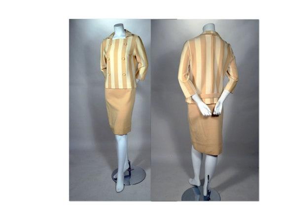60's MOD STRIPE Knit Suit_Stripe Mod Top, Solid Pe