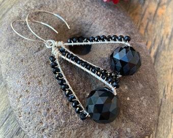 Black Crystal Geometric Hoop Earrings Artisan Silver Wire Wrapped Holiday Bling
