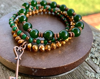 Fall Bracelet Stack Green Gemstone Copper Charms Gift for mom