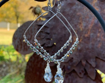 Crystal Geometric Large Hoop Earrings Artisan Stainless Steel Twisted Wire Wrapped Holiday Bling