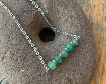 Baby Boy Mom Spring Blue Amazonite Necklace Aqua Blue Gender Reveal Bridesmaid Gift