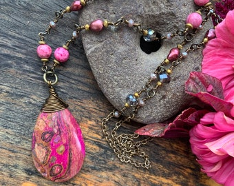 Fuchsia Pink Purple Choi Finches Jasper Necklace Gemstone Wire Wrapped Long Boho Glam - Wine lover gift Vineyard