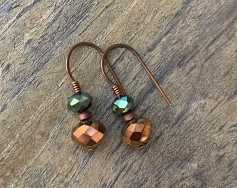 Cute Copper Green Fall Earrings Crystal Short Wire Wrapped Gift for Her