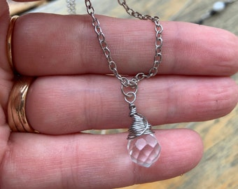 Crystal Pendant Necklace Delicate Stainless Steel Wire Wrapped Wedding Holiday Bling