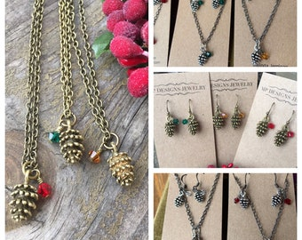Personalized Pine Cone Crystal Jewelry Set, Holiday Gift for Nature Lover, Woodsy Outdoor Adventure, Forest Tree Necklace Earrings