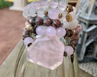 October Bracelet Stack Pink Rose Quartz Gemstone Mix Birthstone Birthday Gift for Girl Mom