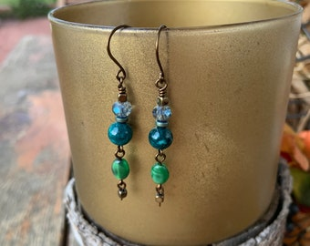 Fun Bronze Crystal Dangle Earrings Blue Green Bohemian Handmade Gift for Her