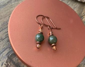 Short Copper Green Jade Earrings Crystal Holiday Handmade Gift for Her