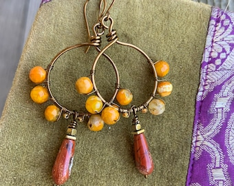 Fun Fall Hoop Earrings Orange Agate Red Jasper Handcut Gemstone  Wirewrapped