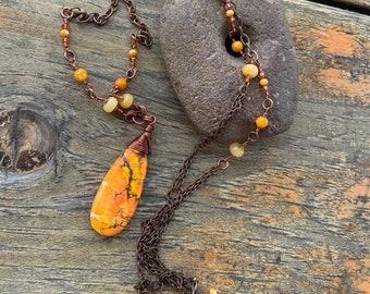 Orange Fall Jasper Gemstone Pendant Long Necklace Copper Harvest Jewelry
