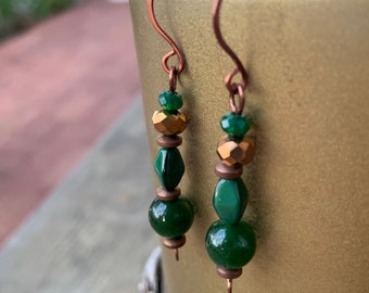 Copper Green Jade Fall Earrings Crystal Holiday Gift for Her