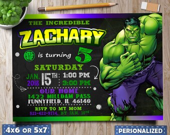 Hulk Invitation BirthdayHulk Birthday Party For Boy Invite Favors Printable