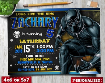 Black Panther Invitation Invite Wakanda Party Invitations Birthday