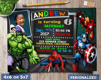 Superhero Invitation Marvel Invitations Superheros Avengers Birthday Party Invite With Photo