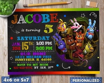 Five Nights At Freddys Invitations Party Birthday Invite FNAF Cards