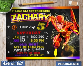 Flash Invitation Birthday Party Super Heroes PartyThe Fastest Man Barry Allen Marvel Comics Avengers Personalized