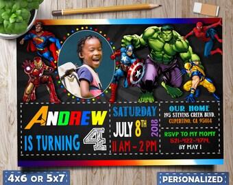 Superhero Invitation Marvel Invitations Superheros Avengers Birthday Party