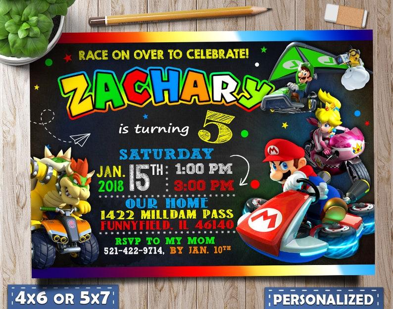 Mario Kart Invitations Mario Kart Birthday Invitations Mario Etsy