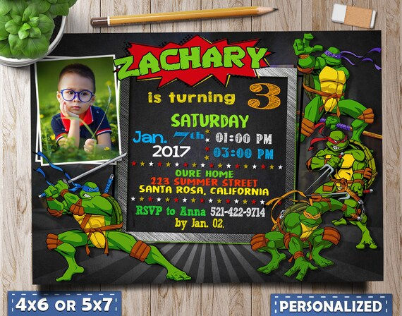 Ninja Turtles Birthday Invitation Invitations Party Photo
