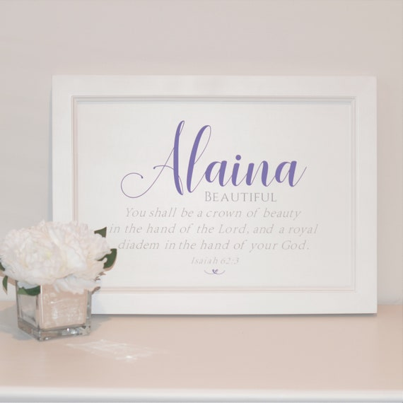 Personalized Baby Girl Name Meaning With Painted Framed Sign Etsy