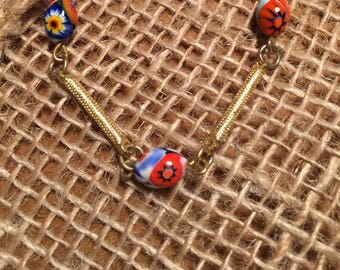 70's Choker/Necklace with gold bars and beads