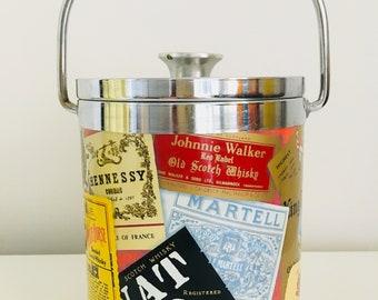 Kitsch label print ice bucket | Retro vintage barware | Kitchenalia storage