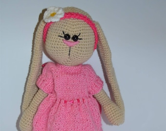 Rabbit Tilda - Hand Knitted Toy - Stuffed Animal - Hand Knit Rabbit - Hand Knit Soft Toy-Knit Bunny