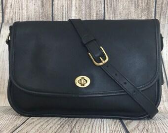 a566e216df4a Vintage COACH City Bag Black Leather purse satchel Crossbody handbag E5C- 9790