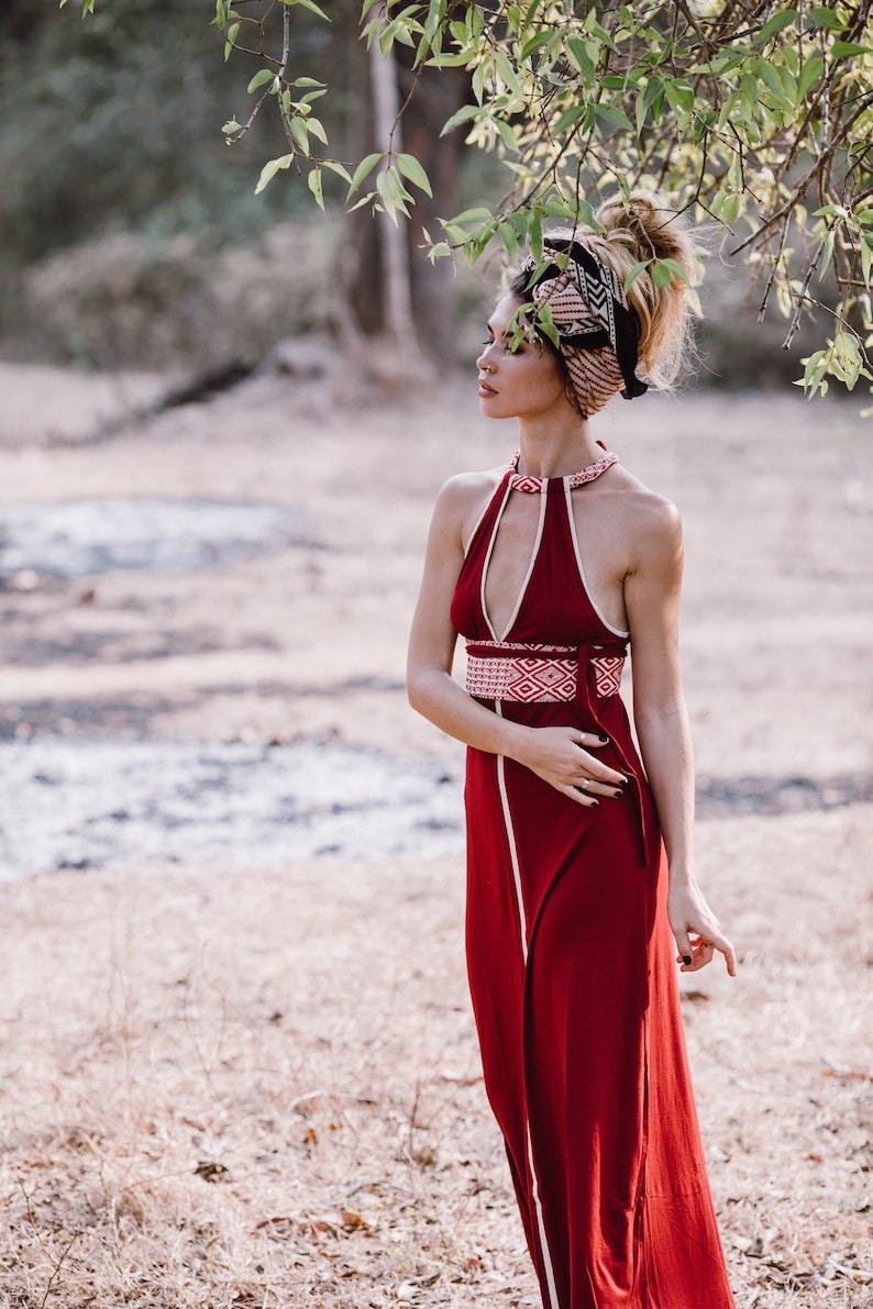 c413dc71f7 Reina Boho Red Dress sukienka maxi Boho damskie sukienki