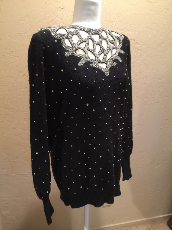 black & silver beaded 1980's evening sweater