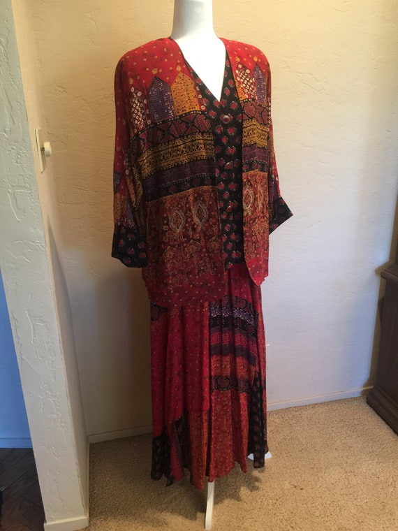 Carole Little 1980's  Two piece exotic print red &