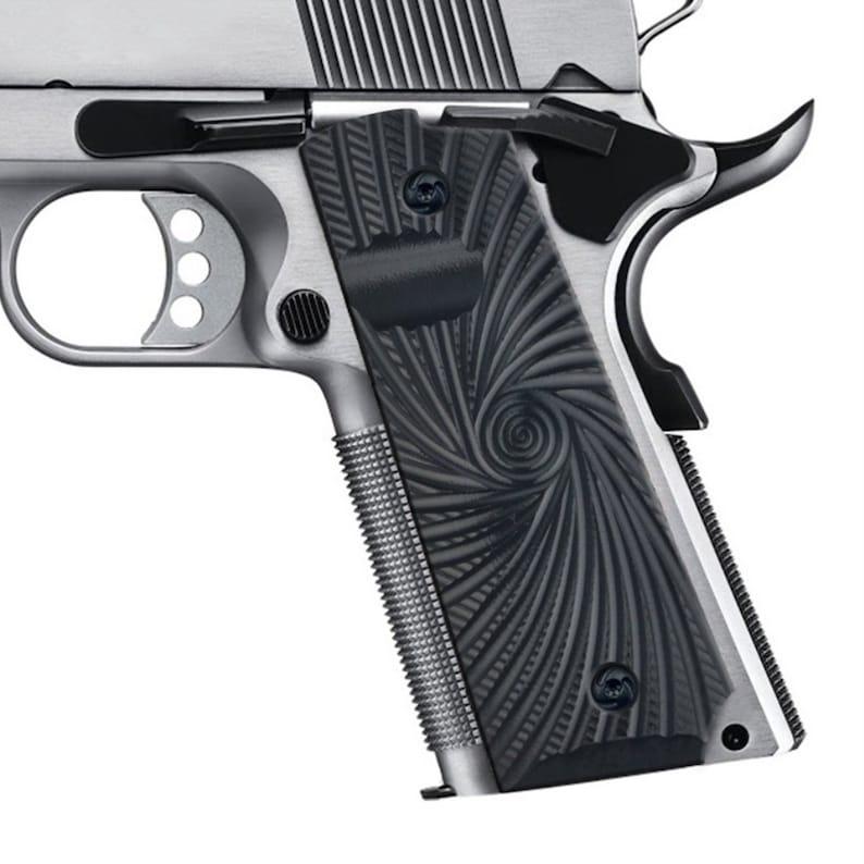 Guuun Grips, Full Size 1911 Grip Black G10 Material Storm Texture, Ambi  Custom Gun Grip fit Tactical IPSC Colt Kimber Sig Sauer S&W Pistol