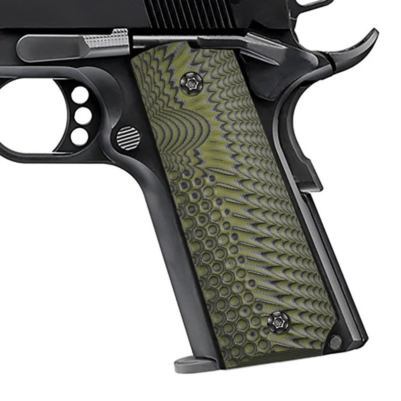 1911 Grips Full Size G10 Grips (Government / Commander), Sunburst Texture,  Desert style, Ambi Safety Cut, Green Grips, Brand by Guuun