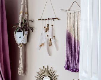 Small ombre dip dyed purple macrame wall hanging