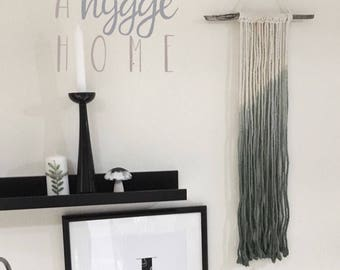 Small ombre dip dyed Green macrame wall hanging