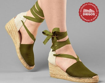 6b88d84e5b0 Diegos® Classic high wedge olive green Lola espadrilles shoes hand made and  hand stitched in northern Spain