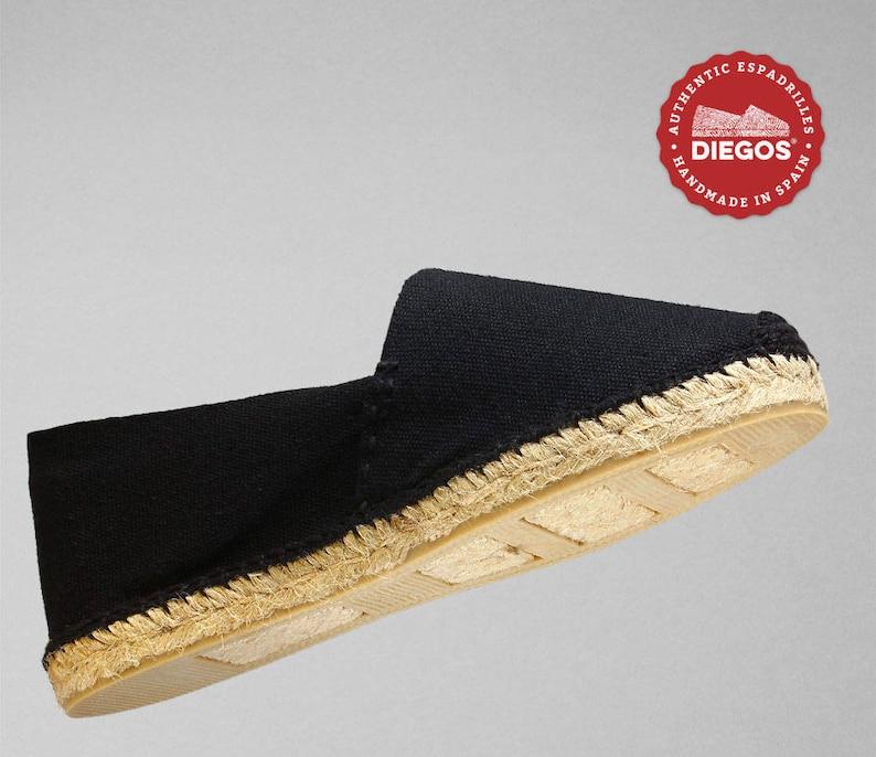 hand stitched Authentic /& original Espadrilles Diegos\u00ae Classic flat black espadrilles shoes sewn in black Made in Spain