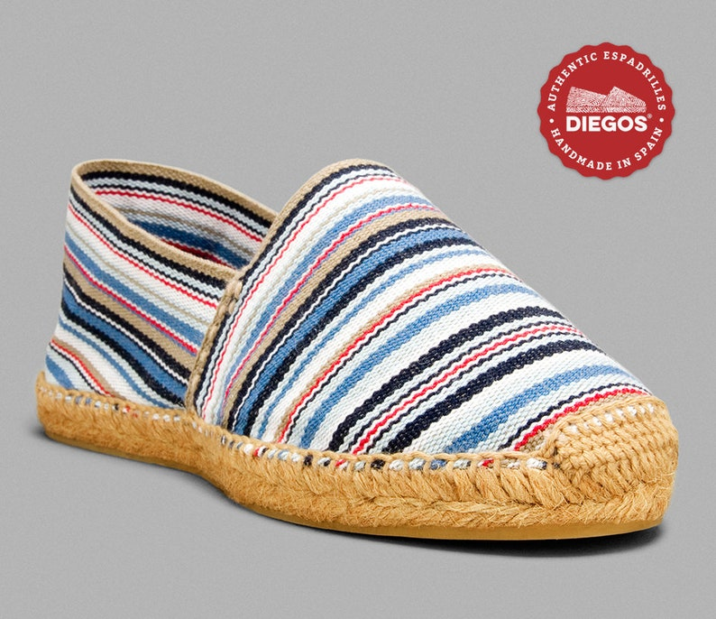 Retro Vintage Flats and Low Heel Shoes Diegos® Classic flat Côte dAzur stripes espadrilles shoes sewn in jute| Made in Spain hand stitched $38.00 AT vintagedancer.com
