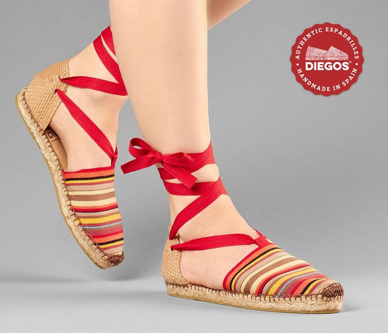 1930s Shoes – Art Deco Shoes, Heels, Boots, Sandals Diegos® Classic flat red stripes Lola espadrilles shoes hand made and hand stitched in northern Spain | The only authentic espadrilles! $56.00 AT vintagedancer.com