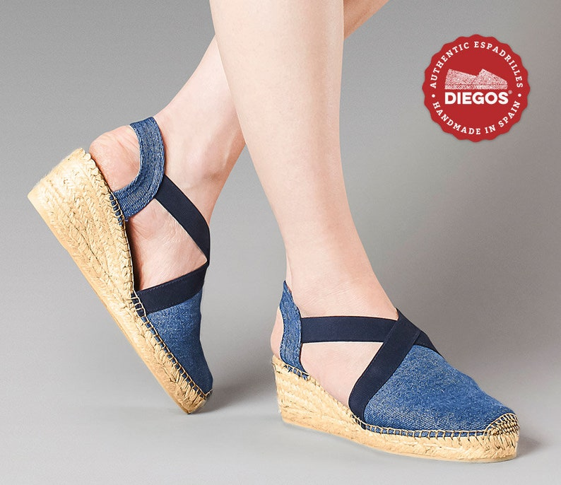 1940s Women's Footwear Diegos® Classic high wedge denim Belen espadrilles shoes hand made and hand stitched in northern Spain $69.00 AT vintagedancer.com