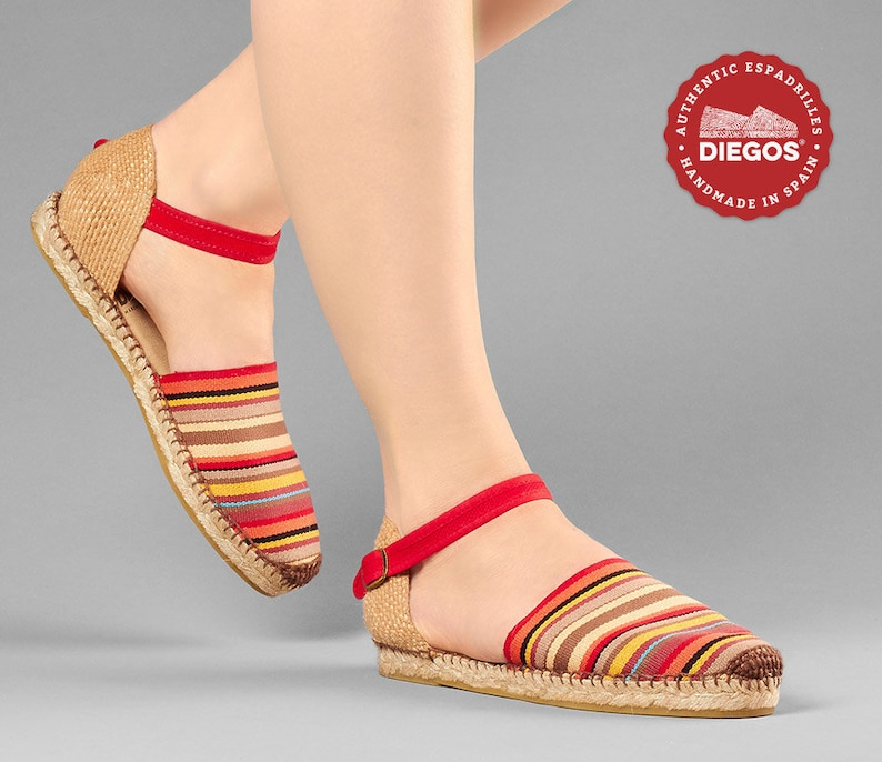Vintage Sandals | Wedges, Espadrilles – 30s, 40s, 50s, 60s, 70s Diegos® Classic flat red stripes Carmen espadrilles shoes hand made and hand stitched in northern Spain | The only authentic espadrilles! $52.00 AT vintagedancer.com