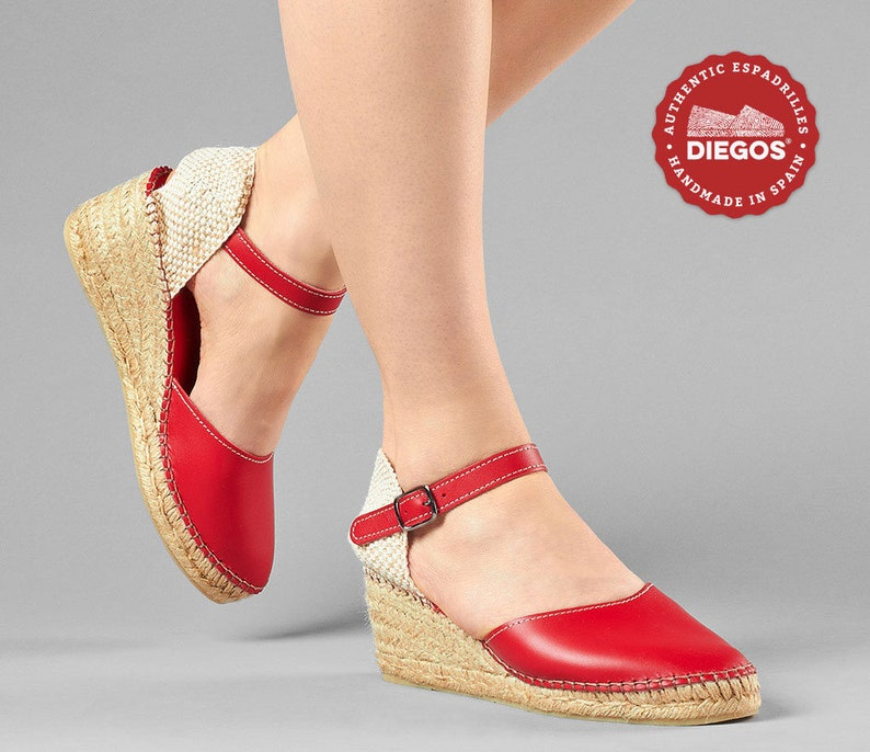 70s Shoes, Platforms, Boots, Heels | 1970s Shoes Diegos® Classic high wedge red leather Carmen espadrilles | Authentic Spanish leather hand stitched to the sole! $89.00 AT vintagedancer.com