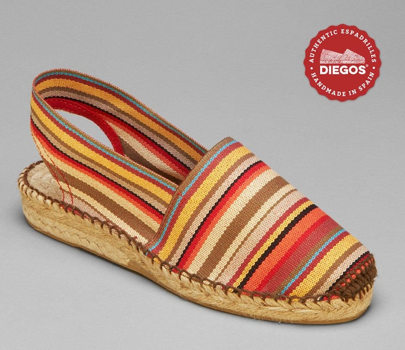 1940s Women's Footwear Diegos® Classic red stripes low wedge Catalina espadrilles shoes hand made and hand stitched in northern Spain $46.00 AT vintagedancer.com