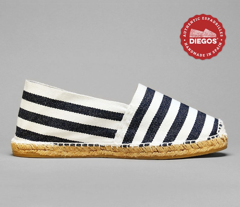 1930s Men's Shoe Styles, Art Deco Era Footwear Diegos® Classic flat Sailor stripes espadrilles shoes sewn in white | Made in Spain hand stitched | Original men Alpargatas handstitched $38.00 AT vintagedancer.com