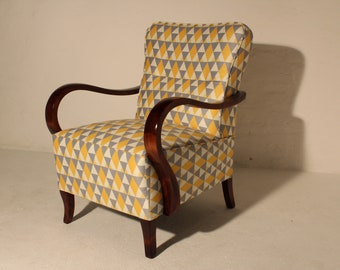 Retro Vintage Art Deco Mid Century Armchair Reupholstered Refurbished